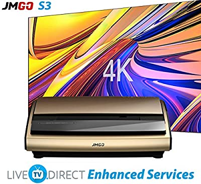 4K Laser TV Projector, LiveTV.Direct Enhanced JmGO S3 Ultra Short Focus Native 4K UHD ALPD 3.0 Laser Home Cinema Projector Android 3D Smart TV WiFi, HDMI 2.0, HDCP 2.2, Built-in HiFi Customize Stereo