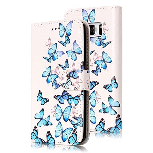 Samsung Galaxy S7 Edge Custoida in Pelle Portafoglio,Samsung Galaxy S7 Edge Cover Pu Wallet,KunyFond Lusso Moda Marmo Dipinto Leather Flip Protective Cover con Bella Modello Cover Custodia per Samsung Piccola farfalla blu