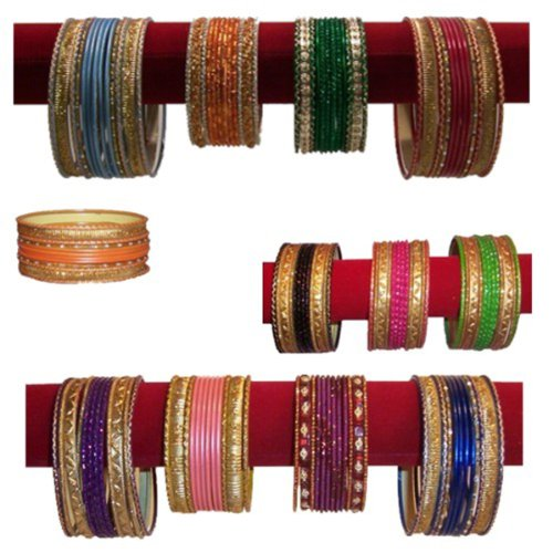 BRACCIALI 432 Bracciali bangles Set dodici pezzi diversi colori / fantasie Accessori Moda etnica indiana