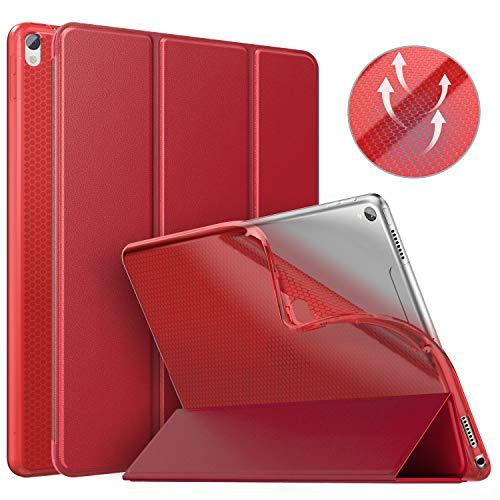 MoKo Schutzhülle Kompatibel mit New iPad Air 3 2019(3rd Generation 10.5 inch)/iPad Pro 10.5 2017, Auto Wake/Sleep Smart Trifold Ständer Transluzente TPU Rückseite Tablet Hülle - Rot (Ipad Generation Klar 3rd)