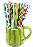 Butterme 100pcs Rainbow rayas pajitas de papel colores decoración pajita para cumpleaños, fiestas, vacaciones, celebración, reunión