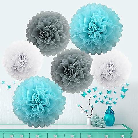 bebé y azul de papel de seda pompones decorativos Pom Pom flores de papel decoración para boda fiesta cumpleaños santa semana Navidad San