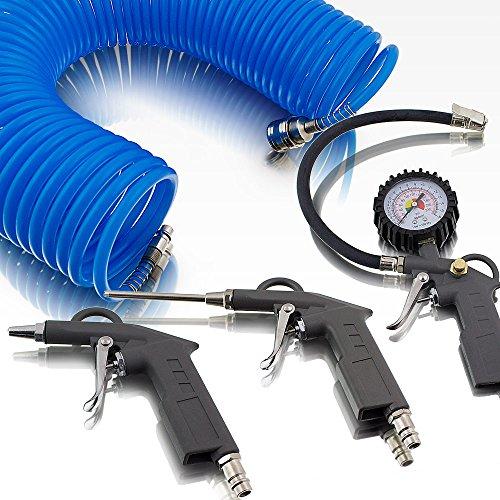 BITUXX® 4 teiliges Druckluft Zubehör Set für Kompressor Schlauch Reifendruck Ausblaspistole