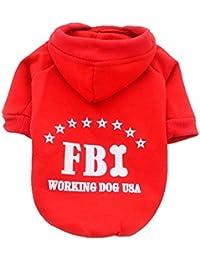 RETUROM Ropa para mascotas, Lindo color sólido FBI sudaderas ropa pequeño cachorro traje