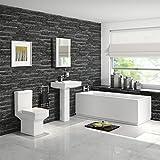 Bath Suite Straight Single Ended Bathtub with Full Pedestal Basin & Toilet Set BSP047