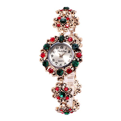 French Loops Jewel Studded Analogue Multicolour Dial Bracelet Watch for Women (FrenchloopsWW18)