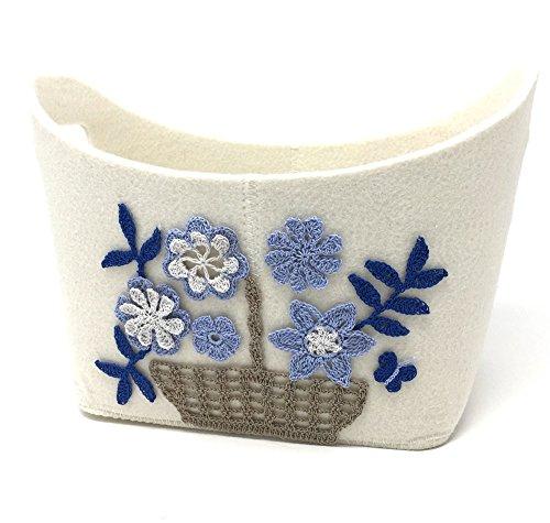 Aufbewahrungskorb Blumenmotiv blau 31,5x19x21