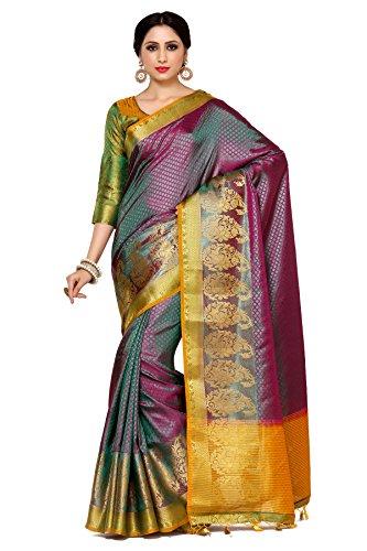Mimosa By Kupinda Women\'s Art Silk Saree Kanjivaram Style (Latest Designer Sarees /Party wear sarees /New collection sarees Color : Multi (4032-242-GR-2D-RNI-GLD)