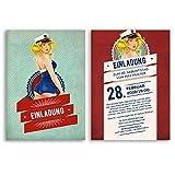 Einladungskarten Geburtstag (30 Stück) Pin Up Girl Vintage Retro alt Geburtstagskarten Geburtstagseinladungen Karte witzige Einladungen gestalten | Inkl. Druck Ihrer persönlichen Texte
