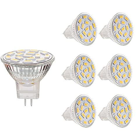 Bogao MR11 GU4.0 2.6W ampoules LED, équivalent à lampes halogènes 20-25W, GU4.0 base AC / DC 12V, 240 LM, faisceau de 120 ° inondation, blanc chaud (3000K), éclairage encastré, éclairage de la voie, Pack of 6