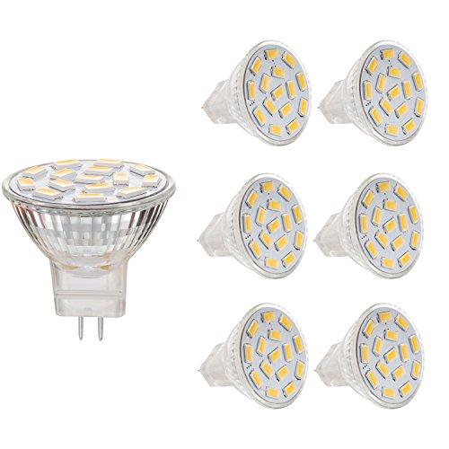 BOGAO (6 Pack) 3.5 W MR11 GU4.0 LED Lampe, 25-35W entspricht Halogenlampen mit, GU4.0-Sockel, AC/DC 12 V,350lm, 120° Flutlicht, Einbauleuchte, Bahnbeleuchtung, warmweiß(3000 K) -