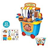 #10: ToysCentral Barbecue House Pretend Play Toy Set, 33Pcs BBQ Kit with Tableware in a Wheel Cart Carry Case