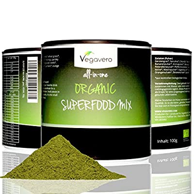 Superfood Detox Powder | 100g of 15 different Superfoods | Matcha, Spirulina, Ginger, Chlorella and more! | VEGAN & ORGANIC by Vegavero