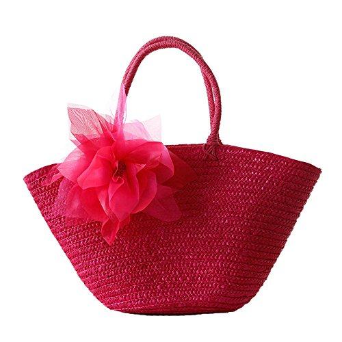 donne ragazze stile pastorale spiaggia fiore paglia sacchetto di spalla tote bag Borsa a tracolla Borse a mano, rosso rosso