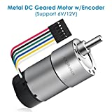 6V, 125rpm, 8.9kg.cm / 12V, 251rpm, 18kg.cm, Metal DC Geared Motor w/Encoder. for Projects Such as Robot, Custom Servo, Arduino and 3D Printers.