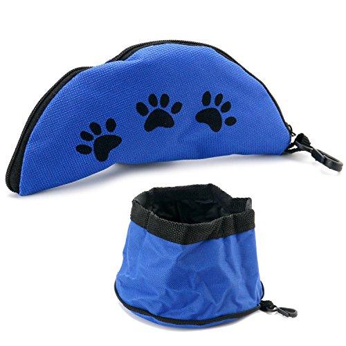 DIGIFLEX Ciotola da viaggio blu, compatta, pieghevole in nylon per il cane