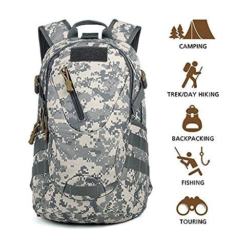 Hisea Multifunktion Assault Rucksack Outdoor Wanderrucksack Reisetasche Trekkingrucksack mit abnehmbaren MOLLE Taschen wasserdicht, 15 liters, Digitaler Dschungel Farbe