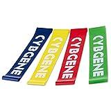 CybGene Set di 4 Mini Fasce a Resistenza ad Anello Fitness, Fasce Premium Allenamento & Stretching, Ottime per Stretching, Terapia Fisica, Yoga, Pilates, ecc. Complete di Comoda Borsa di Trasporto