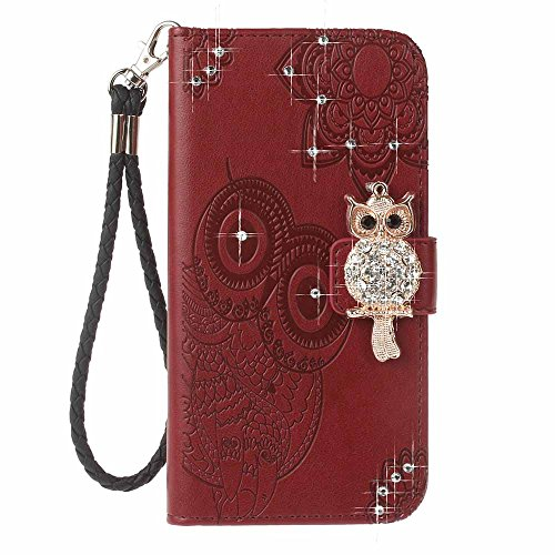iPhone 6 / 6S Custodia, COOSTOREEU 3D Glitter Gufo e Mandala Embossing Premium PU Custodia in Pelle Card Slot Magnetica Portafoglio Flip per Apple iPhone 6 / 6S,Dorato Marrone