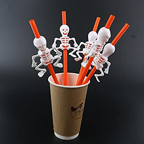 fantaisie Halloween pailles, Xshuai® 5PCS Plastique en forme de citrouille Squelette pailles pour Halloween enterrement Barre Fun Décoration Size: Pumpkin straws: 23CM,Skeleton straws: 28CM