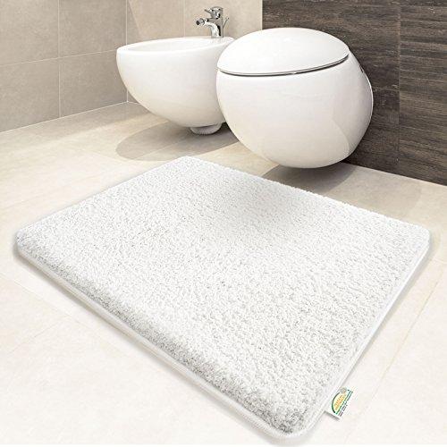 Tapis de bain blanc | certifié Oeko-Tex 100 et lavable | poil très doux | plusieurs tailles au choix - 70x120cm