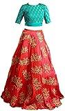 Market Magic World Girl's Taffeta Silk Semi-stitched Dress(KidDress_005, Orange, Free Size)