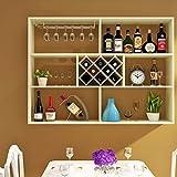 Wanddekoration Weinschrank Wandmontage Multifunktionale Massivholz Weinregal Europäischen Stil Regal Wohnzimmer Restaurant Bar Ausstellungsstand M+ (Farbe : Primary Colors, größe : 140x102x24cm)