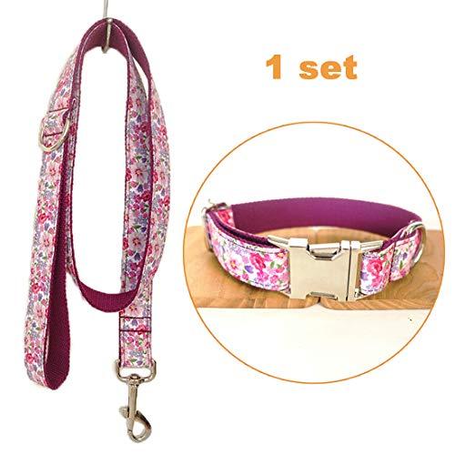 band verstellbar Outdoor Pet Leine Seil Set Halsband Bohemian-Stil Hundehalsband für mittelgroße und Kleine Hunde(Blumenfee lila,M) ()