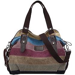 Coofit Multi-Color-Striped Canvas Damen Handtasche / Umhängetasche Canvas Tasche Shopper Hobo Bag