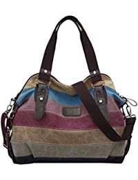 Coofit Multi-Color-Striped Canvas Damen Handtasche / Umhängetasche Canvas Tasche Shopper Hobo Bag