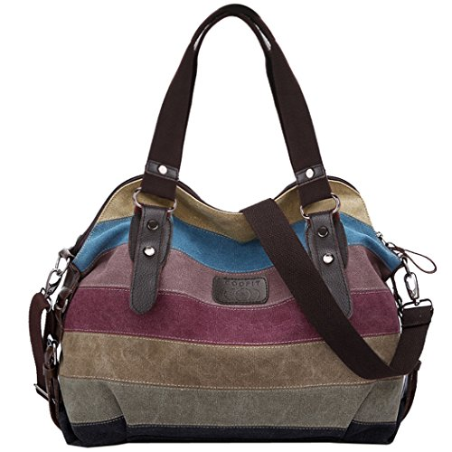 Coofit Multi-Color-Striped Canvas Damen Handtasche / Umhängetasche Canvas Tasche Shopper Hobo Bag (Hobo-stil Handtaschen)