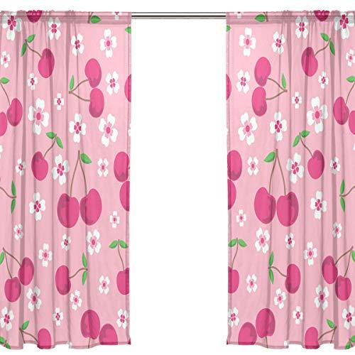 Orediy 2 Panels Voile Sheer Gardine Pink Cherry Flowers Stange Pocket Long Ceiling Curtain Window Treatments Schlafzimmer Wohnzimmer Decor 200x140cm, Polyester, Multi, 2 * 140W x 213 H - Sheer Cherry