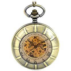 ANNA&JOE Copper-colored retro men and women through the double cover mechanical Pocket Watch Pocket Watch