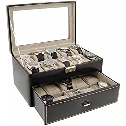 Watch display box for 20 watches big sphere black leather