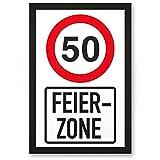 DankeDir! 50 Jahre Feierzone, Kunststoff Schild - Geschenk 50. Geburtstag, Geschenkidee Geburtstagsgeschenk Fünzigsten, Geburtstagsdeko/Partydeko / Party Zubehör/Geburtstagskarte