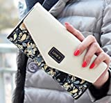 Women Leather Wallet Envelope Purse Card Holder Mobile Bag Long Zip Handbag Black