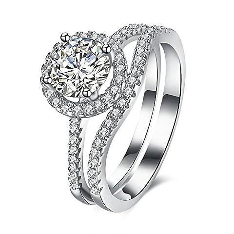 BALANSOHO Women 925 Sterling Silver Infinity Love Wedding Band Halo Engagement Rings Bridal Set Size 8