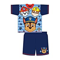 100% Official Boys Kids Childrens Character Paw Patrol 2 Piece Shortie Pyjama Set, Navy 3 Character, 4/5