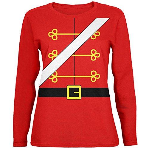 Weihnachten Spielzeug Soldat Nussknacker Kostüm Womens Long Sleeve T-Shirt Rot X-LG