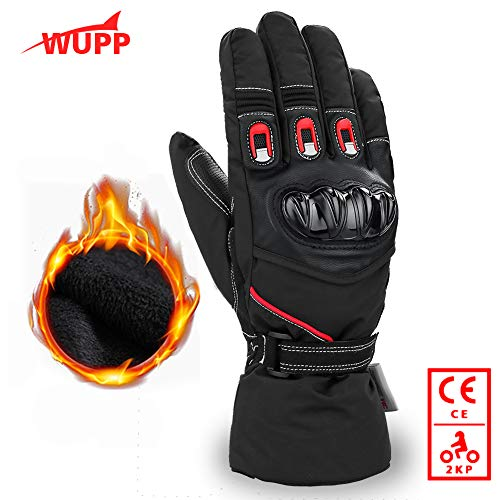 Motorradhandschuhe Winter, Flexibel Warm Roller Handschuhe Touchscreen Verdicken Wasserdicht, Thinsulate 3M und Leder Anti-Verschleiß lange Ärmel Carbon Crash Shell 360 °Schutzhände für Herren Damen