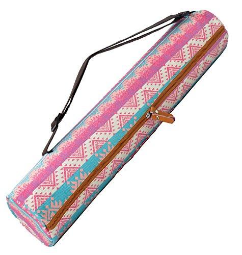 Yogatasche »Sunita« von #DoYourYoga aus hochwertigem Canvas (Segeltuch), aufwendig verarbeitet, für Yogamatten bis zu einer Größe von 180 x 60 x 0,3 cm, in verschiedenen Edel-Designs erhältlich. Pinke Azteken