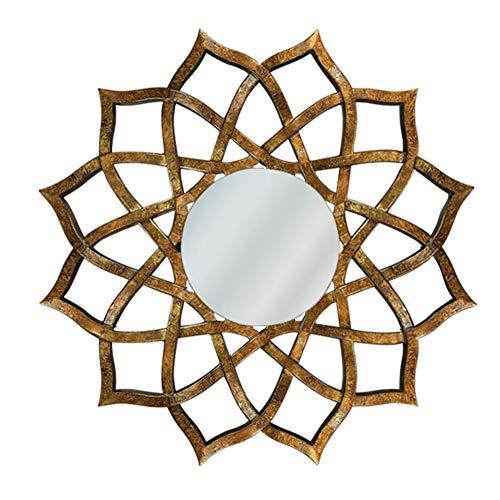 Distressed Gold Finish (Cqing Ausgefallene Vintage dekorative hängende Wandspiegel, Holz hohl Geschnitzte Blume Spiegel in Gold Distressed Finish, 31 Zoll, Hintergrund, Wohnzimmer & Eingang)
