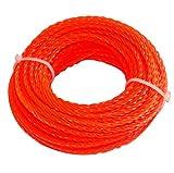 Aerzetix - Profilo quadrato filo contorto rosso di nylon 2.4 mm 15m per tagliaerba taglierina trimmer decespugliatore