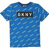 DKNY T-Shirt Allover Logo Print und Logoprägung ozon blau Gr. 10 Jahre