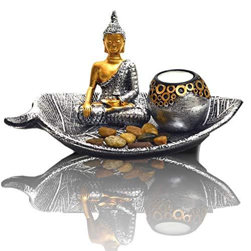 INtrenDU® Cuenco Decorativo Oriental con Piedras de decoración de Figura de Buda y Soporte de candelita para meditación
