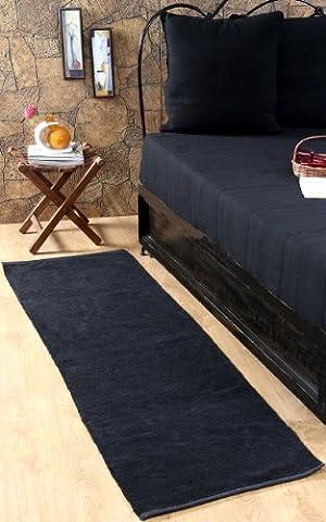 Homescapes waschbarer Chenille Teppich Vorleger 66 x 200 cm aus 100% reiner Baumwolle, Farbe: schwarz, pflegeleicht und