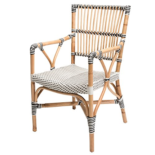 Rotin Design SSV : -38% Bistrosessel VIGO - Rattanstuhl mit Armlehnen - Gartenstuhl - Honig/Schwarz/Weiß (Schwarzer Bambus Stuhl)