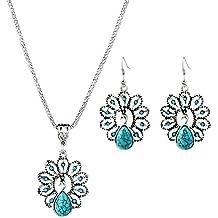 Hosaire 2 Set - Pendientes y Collar de Retro hueco turquesa pavo real del diamante Moda Muchachas de las Mujeres Pendientes Nuevo Estilo para Mujeres de la Joyería Accesorios