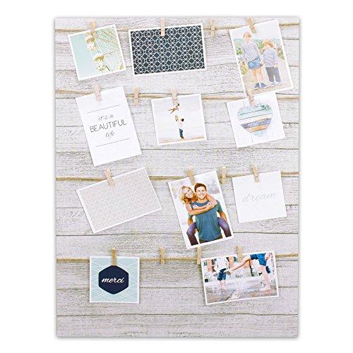 Bilderrahmen Fotorahmen Bilder Bilderhalter Fotoleine aus MDF für 16 Fotos mit Holz-Klammern zum Aufhängen inkl. Aufhängeset (Ausgefallene Bilderrahmen)