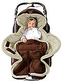 ByBoom - Ganzjahres Fußsack Cocoon für Kinderwagen, Buggy auch Babyschale z.B. Maxi-Cosi; MADE IN EU, Farbe:Braun/Beige